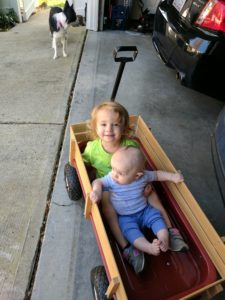 Aria and Ivan in their wagon